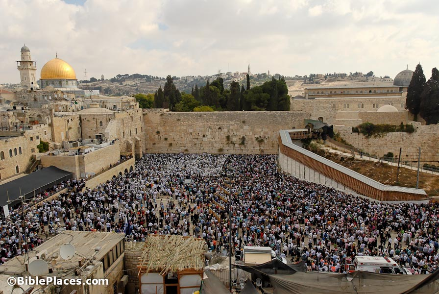 Western Wall prayer area filled during Sukkot, tb1009069569