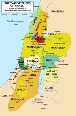 mapa doce tribus segun Josue