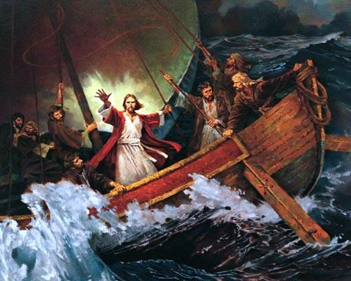 Resultado de imagen de imagenes de jesus cuando calmo la tormenta el mar